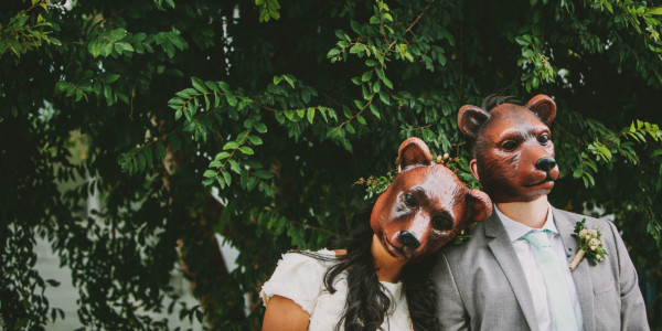 Rustic Bear-Themed San Diego Garden Wedding