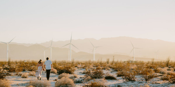 A Windy, Romantic Desert Engagement