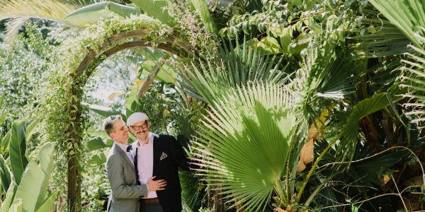 Colorful Poolside Garden Wedding – Photo by Let's Frolic Together